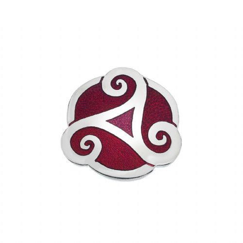 Celtic Triskele Red Brooch Silver Plated Brand New Gift Packaging